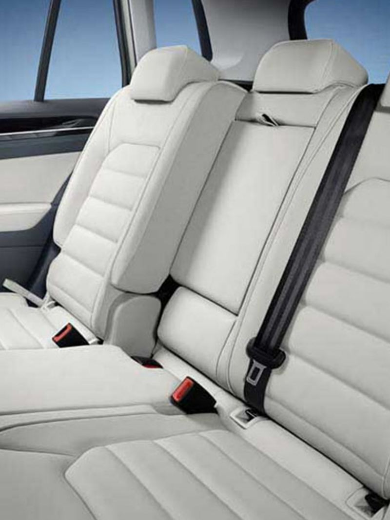 Interior shot of a Volkswagen Golf rear passenger seats.