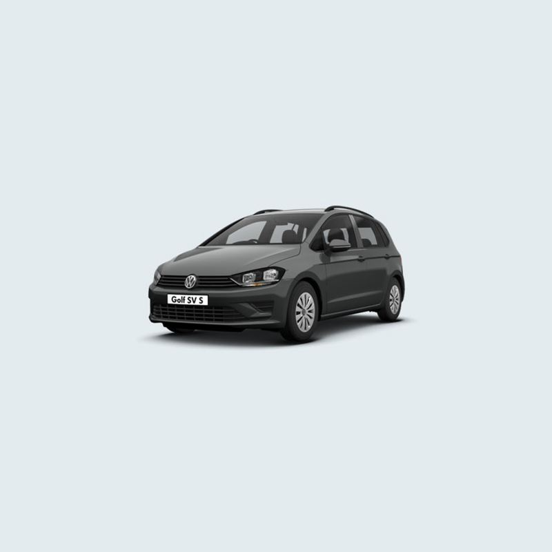 3/4 front view of a grey Volkswagen Golf SV S.