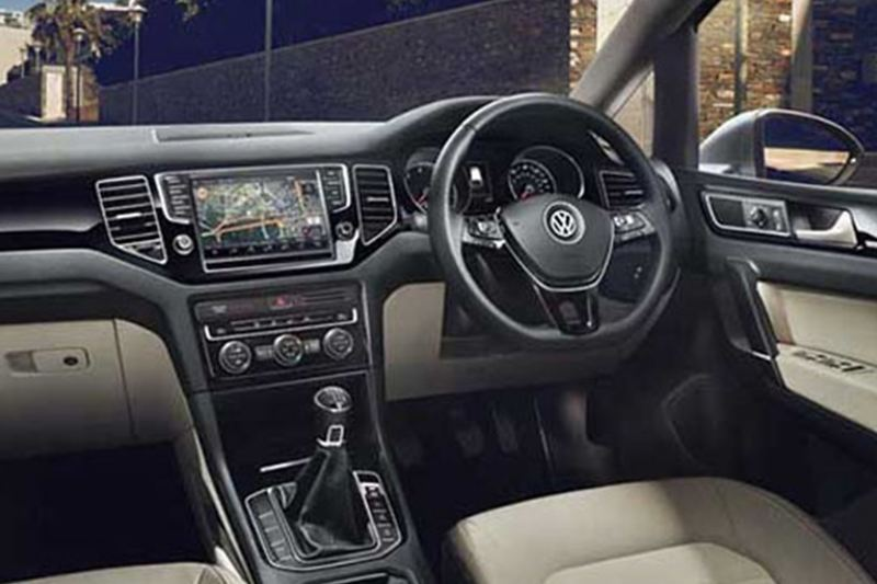 In built infotainment system shown inside a Volkswagen Golf.