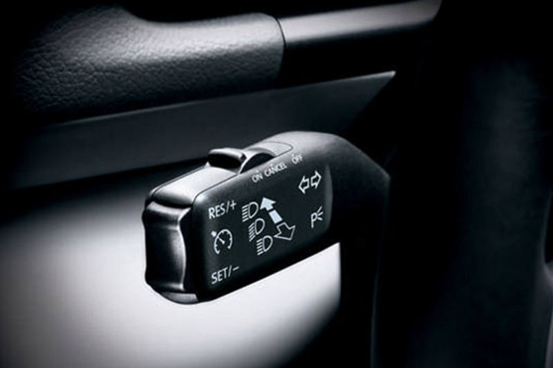 Close up of the headlight controls of a Volkswagen Jetta.