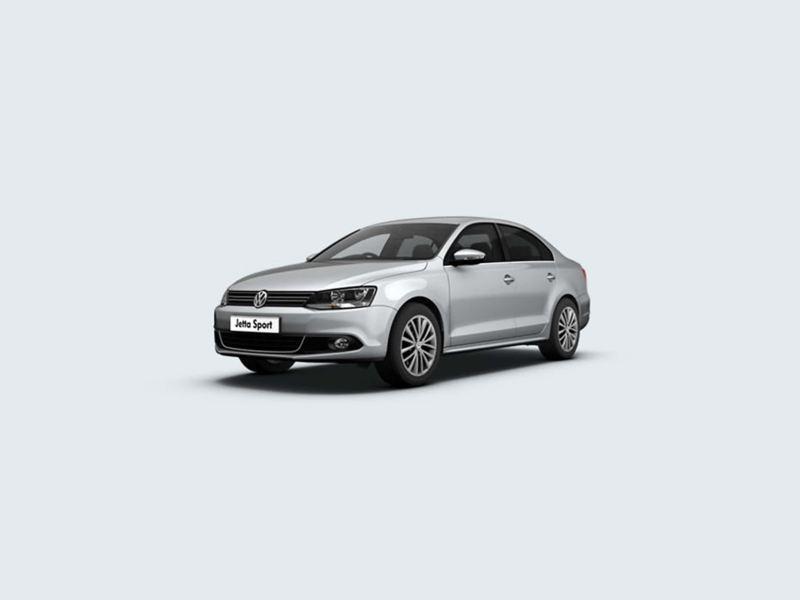 3/4 front view of a silver Volkswagen Jetta Sport.