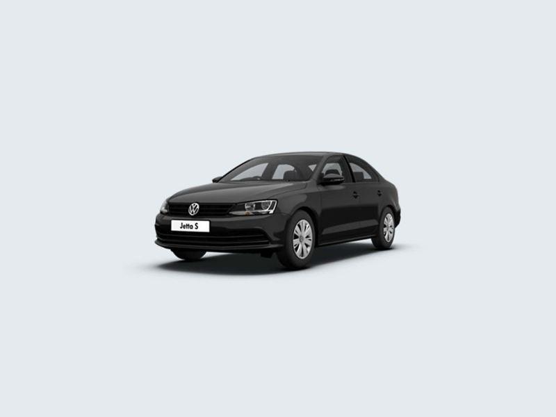 3/4 front view of a black Volkswagen Jetta.