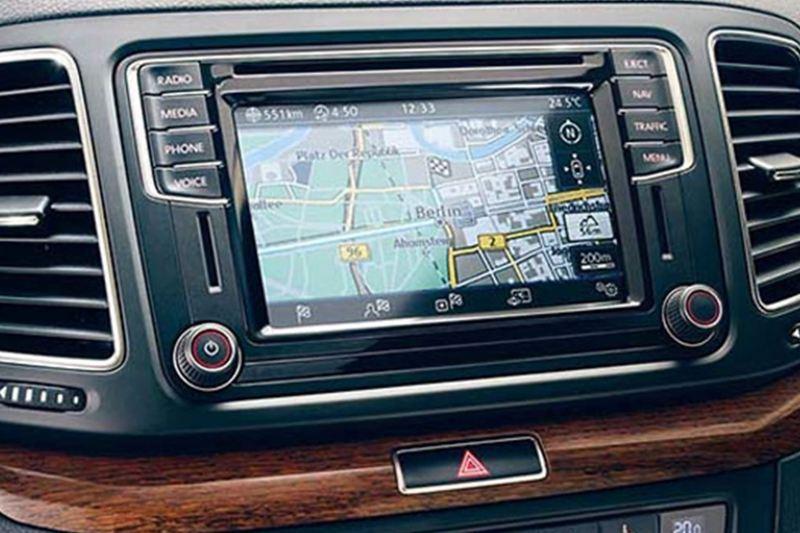 In built sat-nav showing inside a Volkswagen.