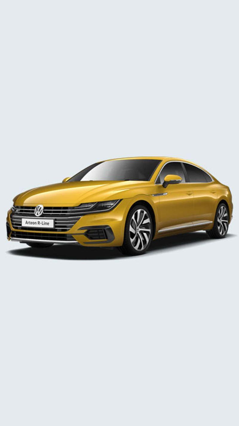A yellow Volkswagen Arteon R-Line.