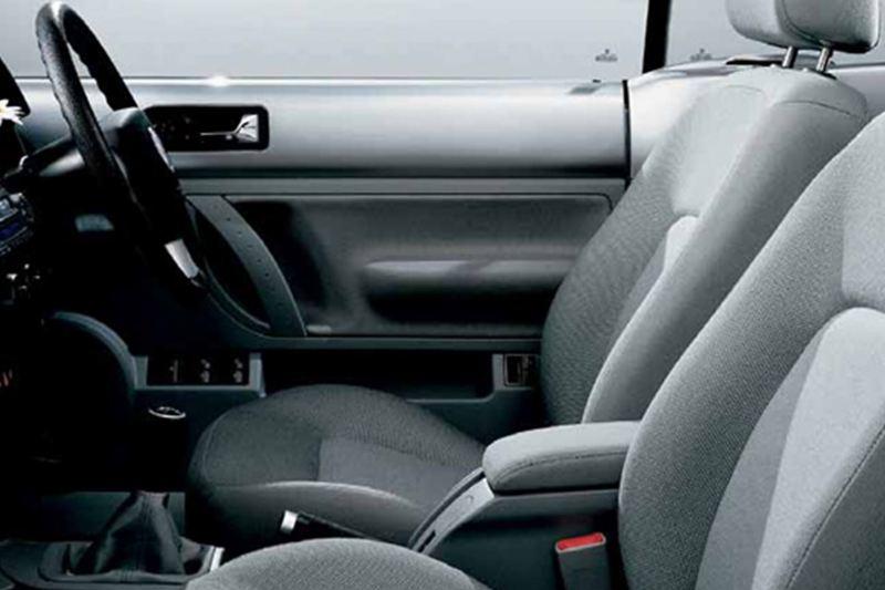 Interior shot of a Volkswagen Beetle.