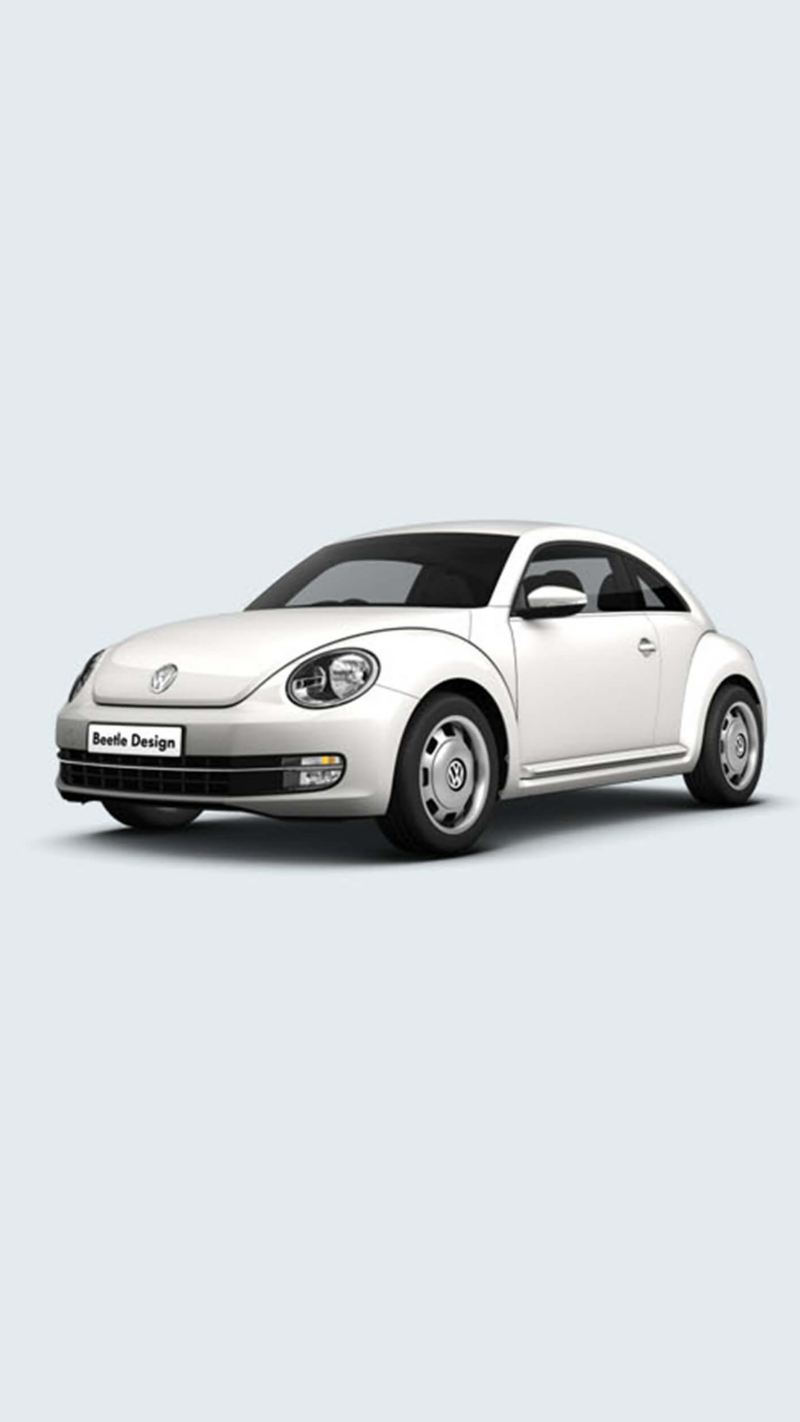 A white Volkswagen Beetle.