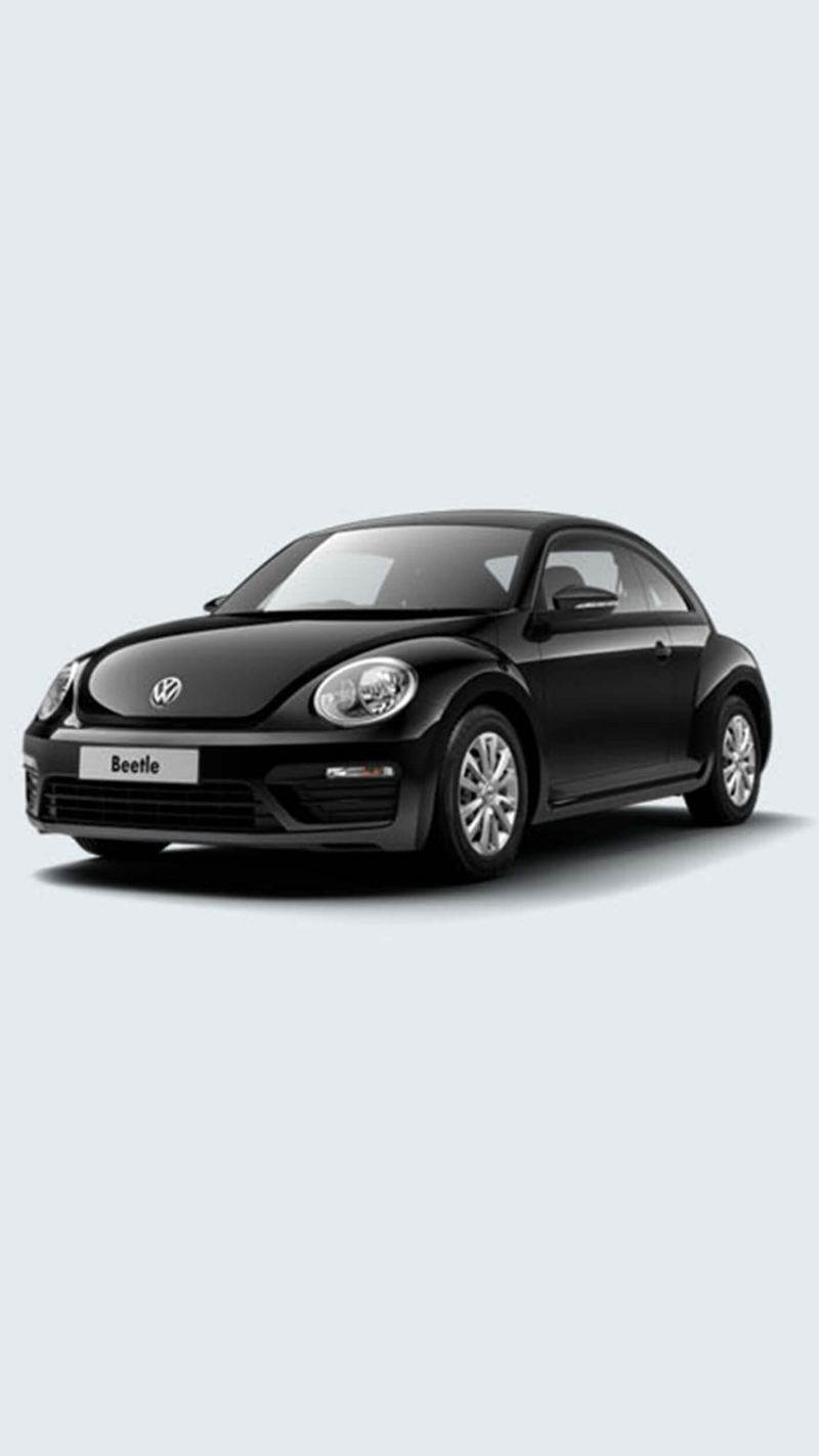 3/4 front view of a black Volkswagen Beetle.