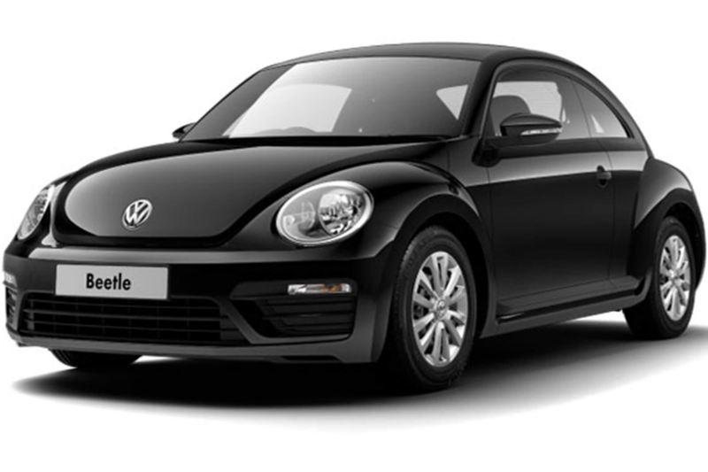 3/4 front view of a black Volkswagen Beetle.