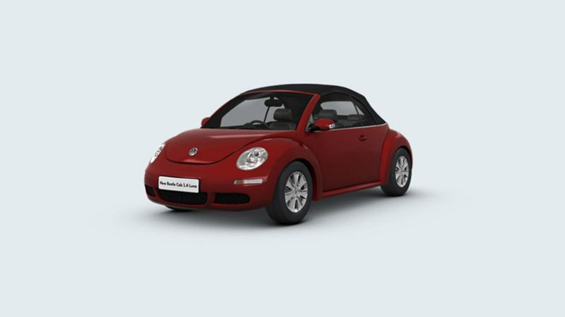3/4 front view of a black Volkswagen Beetle Cabriolet.