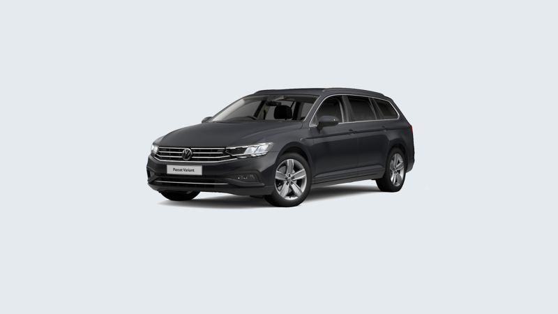 3/4 front view of a grey Volkswagen Passat Estate