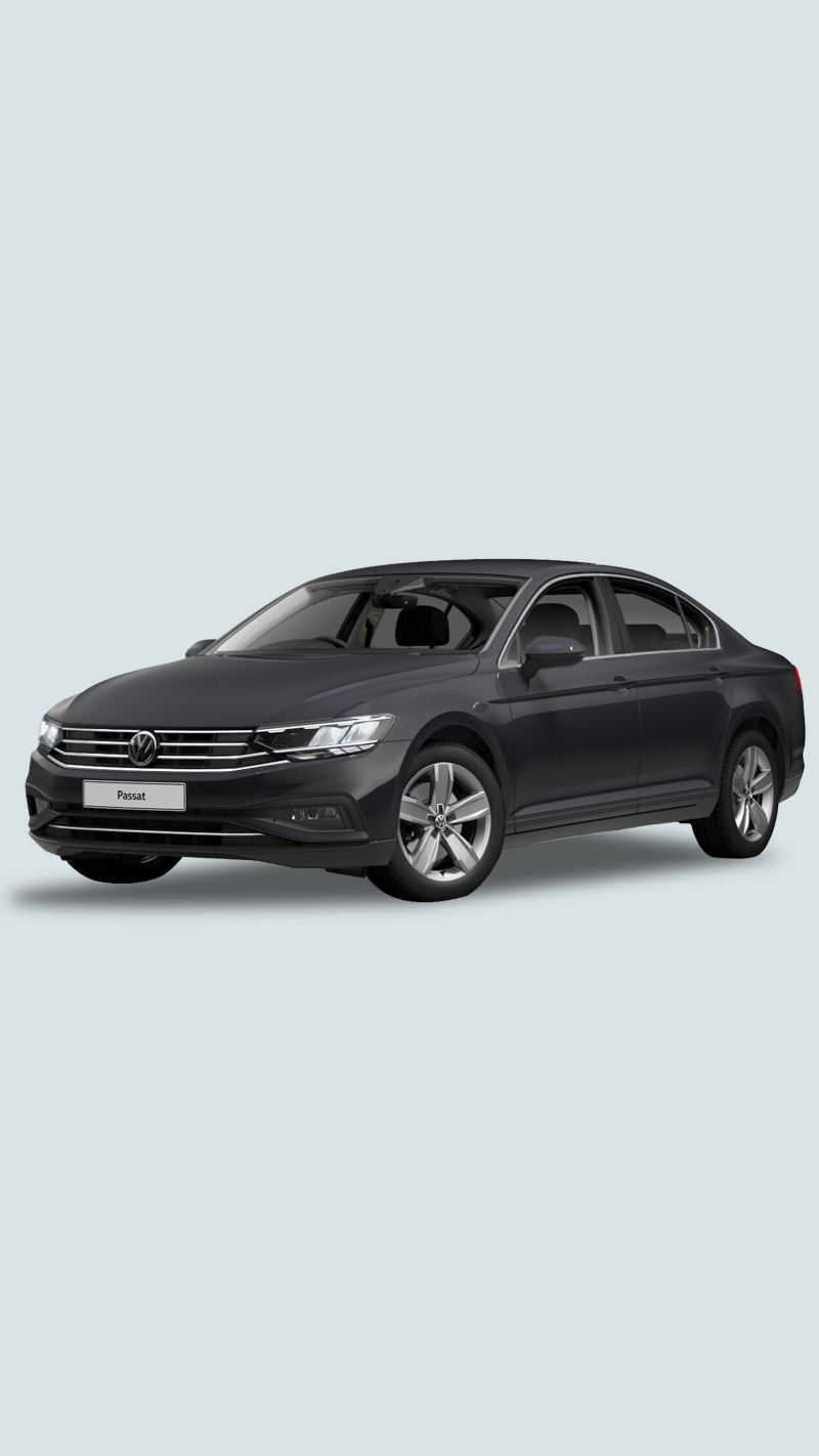 3/4 front view of a black Volkswagen Passat