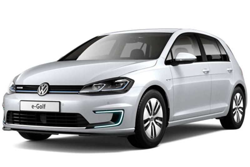 3/4 front view of a white Volkswagen e-Golf.