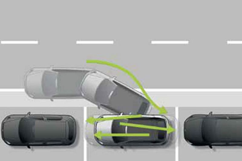 Arial shot of Park Assist system, in action.