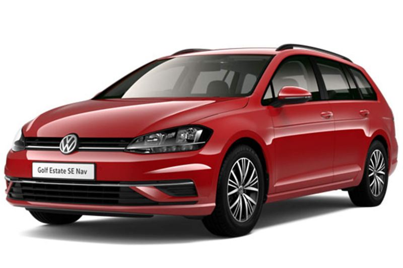 3/4 front view of a red Volkswagen Golf Estate.