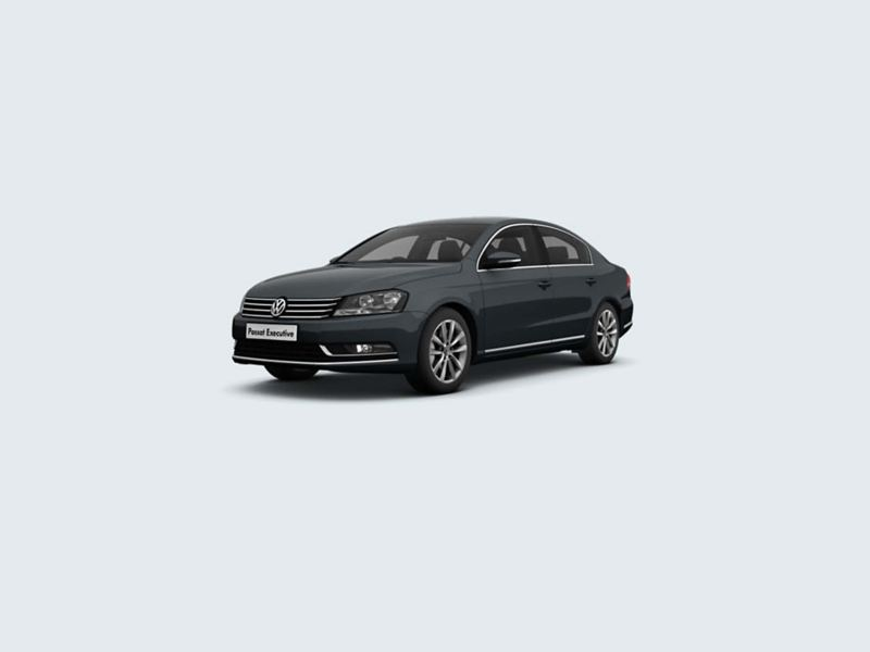 3/4 front view of a grey Volkswagen Passat Executive..