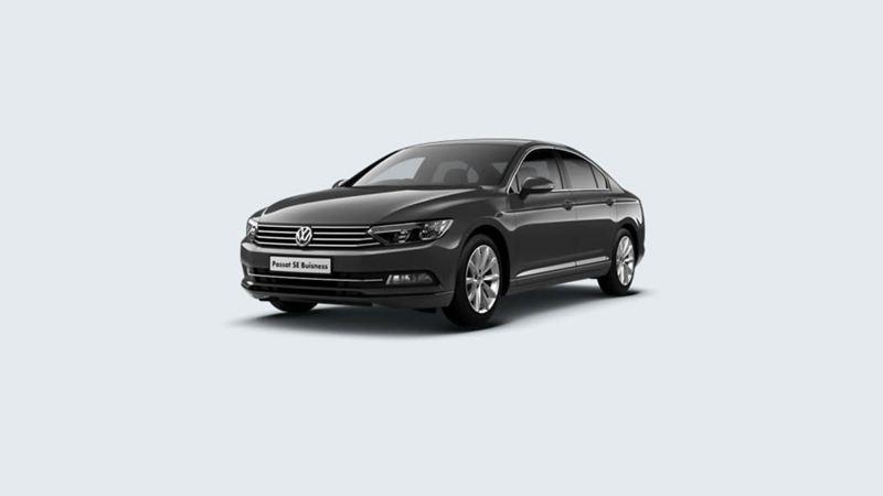 3/4 front view of a black Volkswagen Passat SE Business.