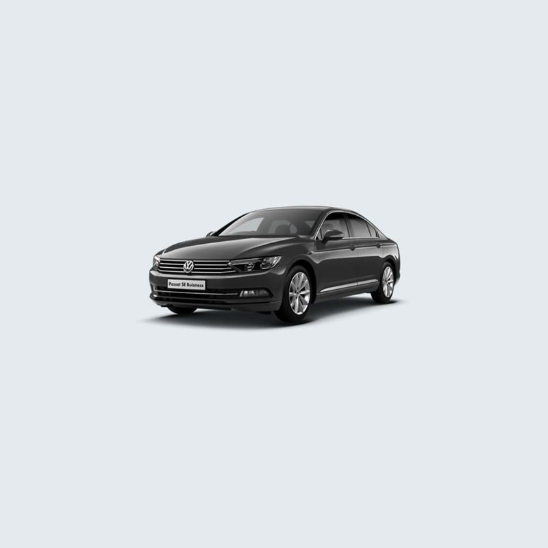 3/4 front view of a black Volkswagen Passat SE Business.