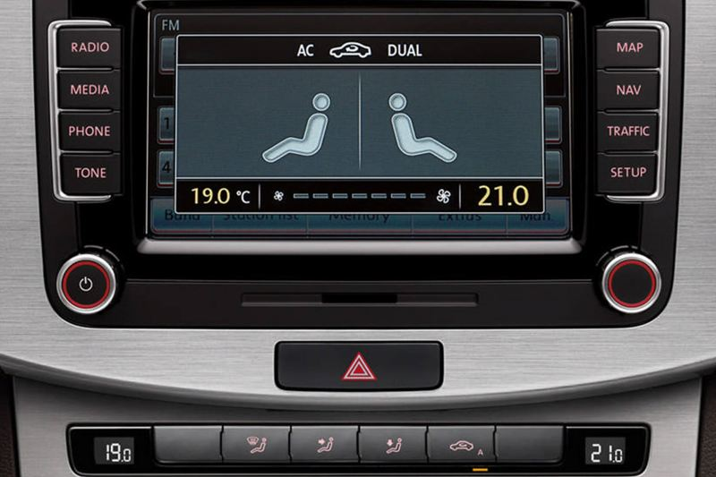 Central infotainment screen inside a Volkswagen Passat Estate.