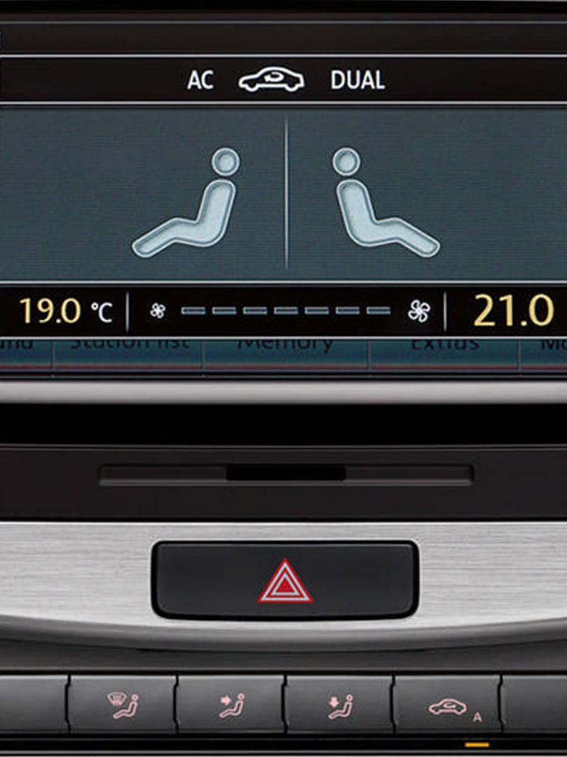 Central infotainment screen inside a Volkswagen Passat Estate.