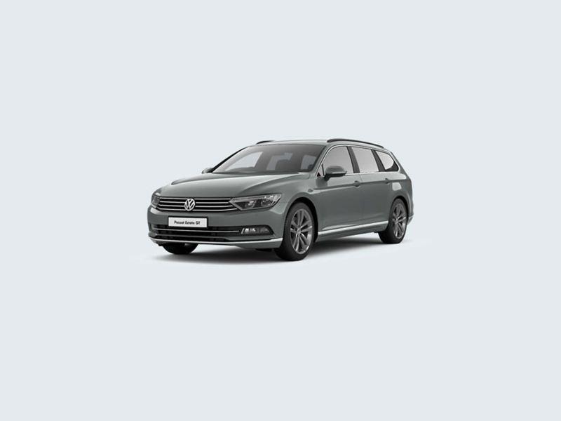 3/4 front view of a grey Volkswagen Passat Estate GT.