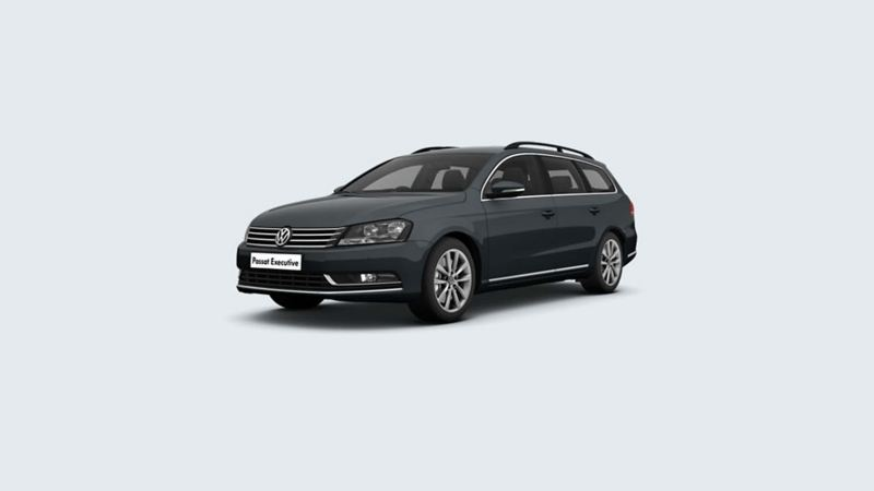 3/4 front view of a grey Volkswagen Passat Estate.