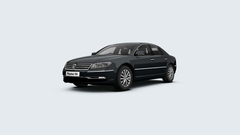 3/4 front view of a black Volkswagen Phaeton V6.