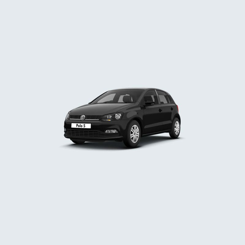 3/4 front view of a black Volkswagen Polo S.