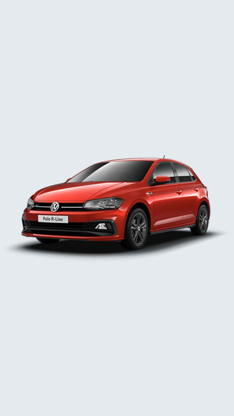 3/4 front view of a red Volkswagen Polo R-Line.