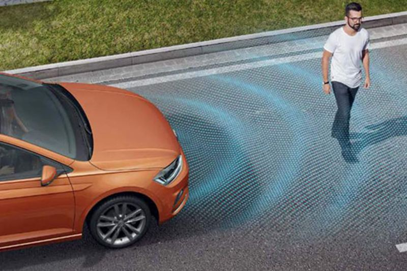 Arial shot of Front Assist system, in action.