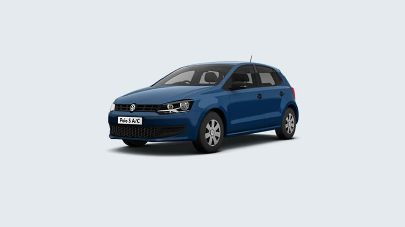 3/4 front view of a blue Volkswagen Polo S.
