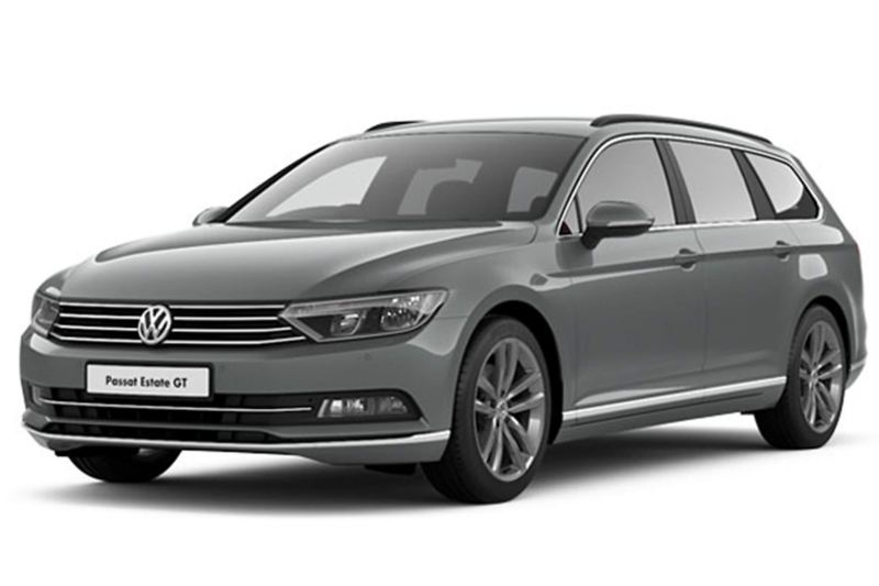 side view of Passat Estate in grey