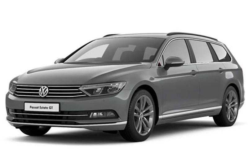 3/4 front view of a grey Volkswagen Passat Estate.
