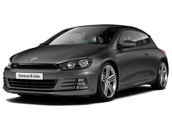 3/4 front view of a gey Volkswagen Scirocco.