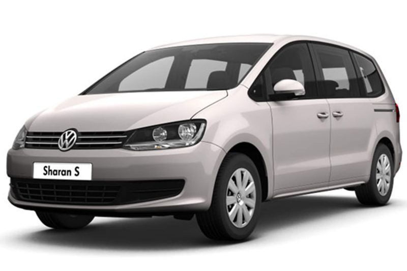3/4 front view of a silver Volkswagen Sharan.