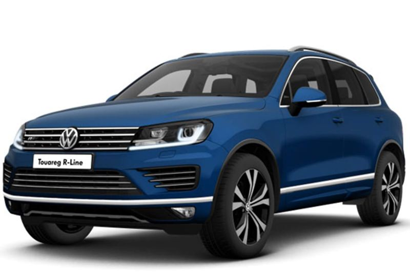 3/4 front view of a blue Volkswagen Touareg R-Line.