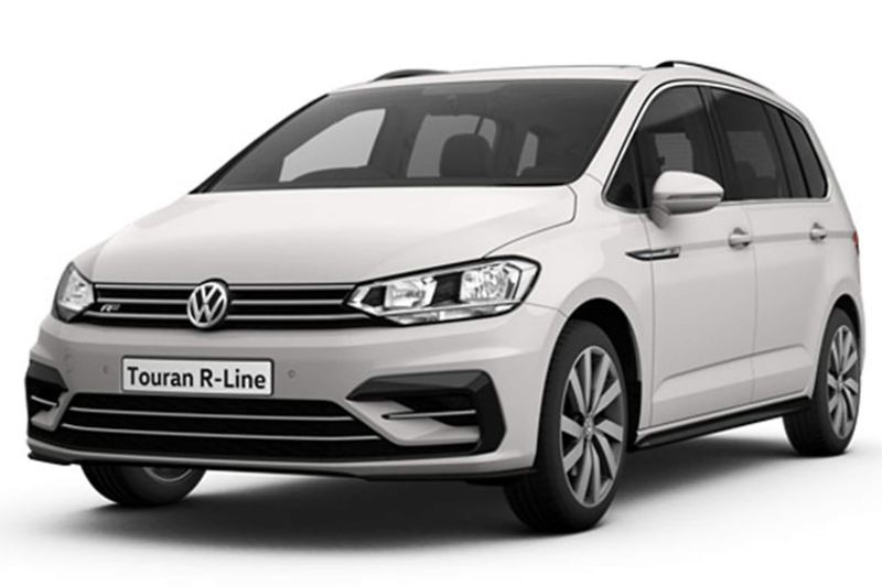 3/4 front view of a white Volkswagen Touran R-Line.