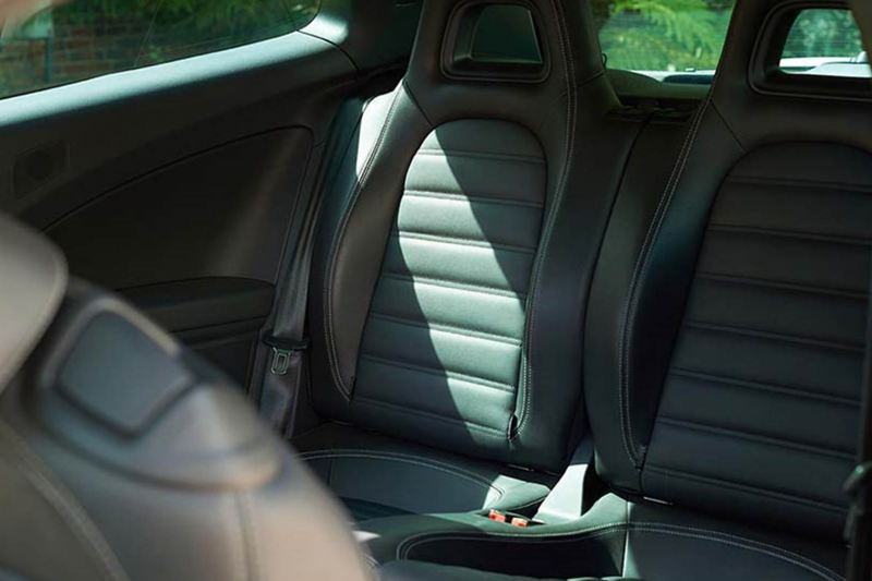close up of the interior back seats of the Scirocco