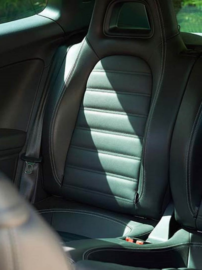 Rear passenger seat shot of the Volkswagen Scirocco.