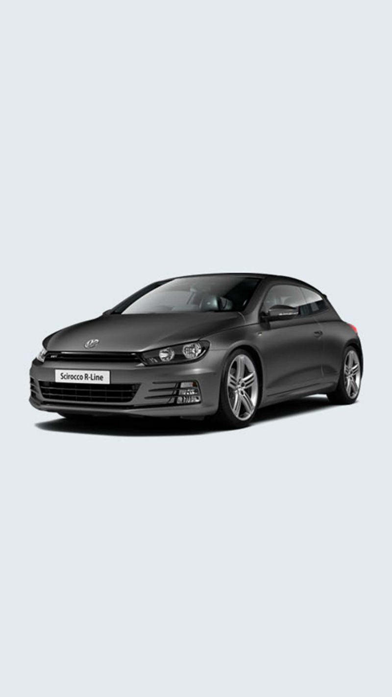 3/4 front view of a grey Volkswagen Scirocco R-Line.