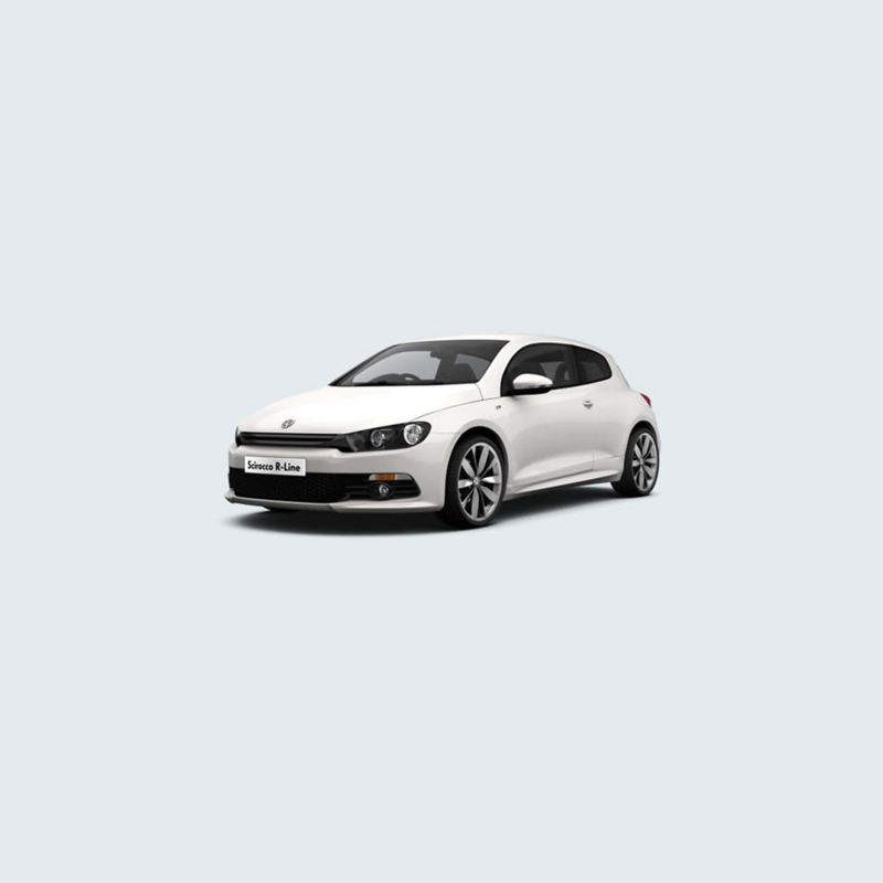 3/4 front view of a white Volkswagen Scirocco.