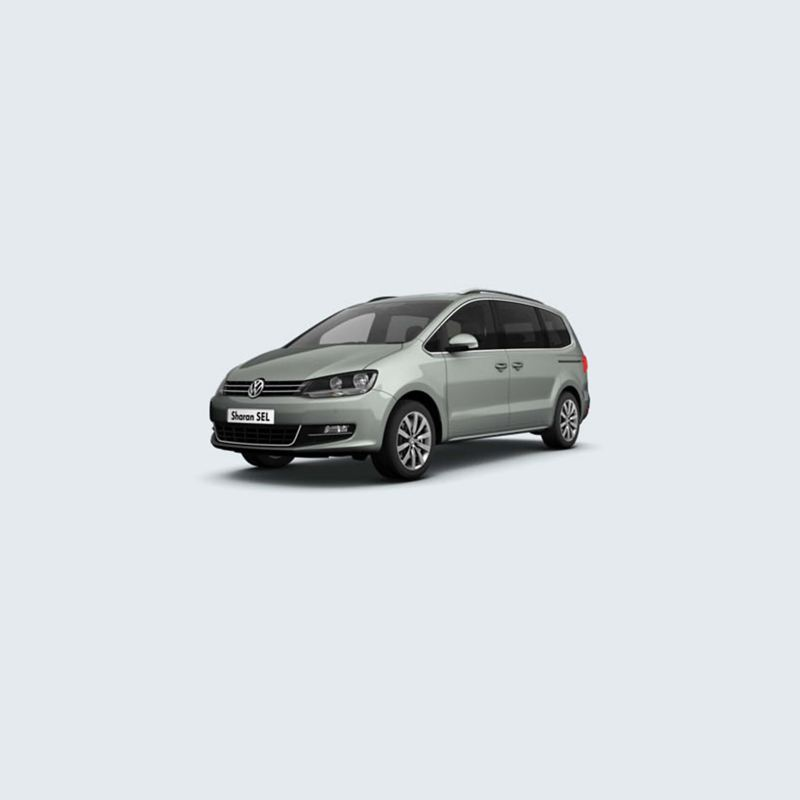 3/4 front view of a green Volkswagen Sharan SEL.