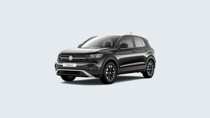3/4 front view of a black Volkswagen T-Cross S.
