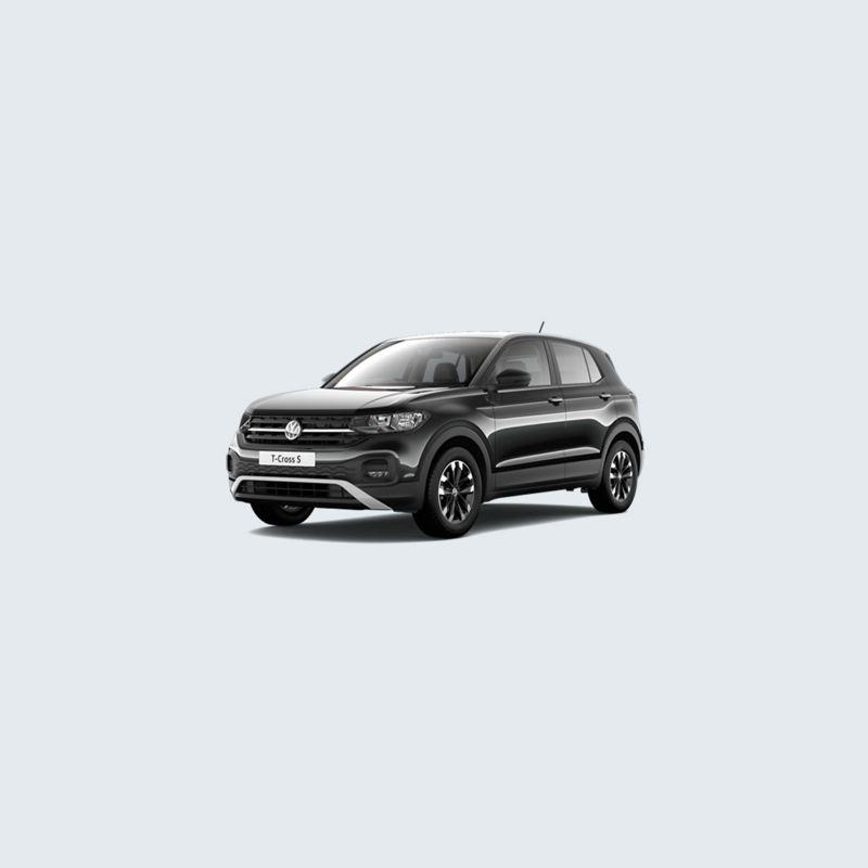 3/4 front view of a black Volkswagen T-Cross S.