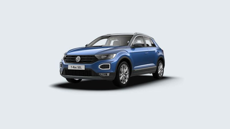 3/4 front view of a blue Volkswagen T-Roc SEL.