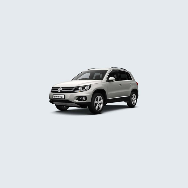 3/4 front view of a white Volkswagen Tiguan Escape.