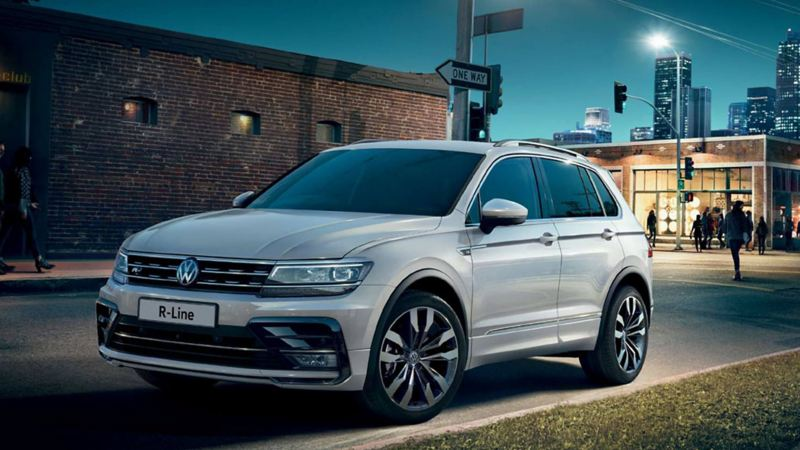 Silver Volkswagen Tiguan R-Line, parked in a city back-street.