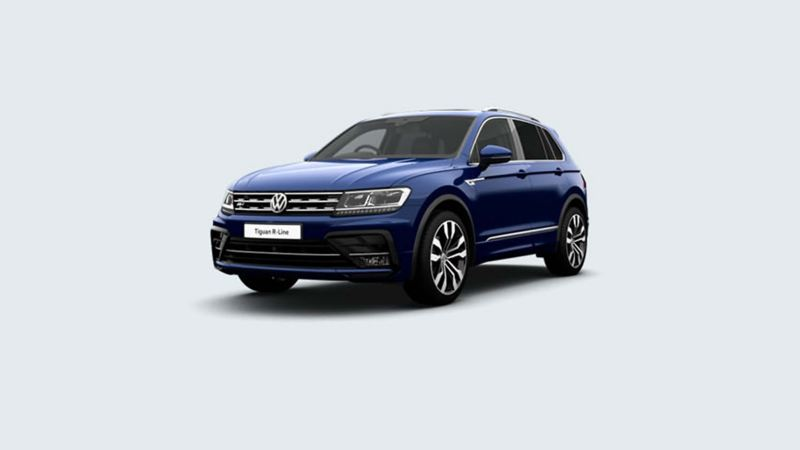 3/4 front view of a blue Volkswagen Tiguan R-Line.