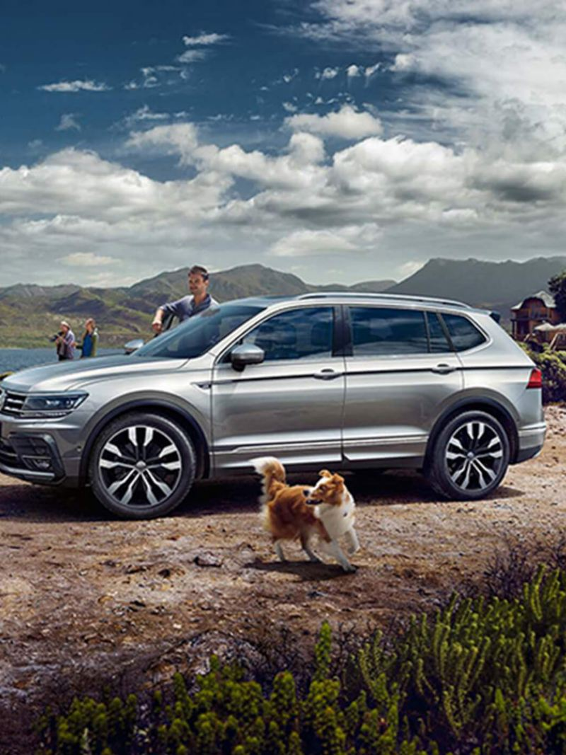 Silver Volkswagen Tiguan Allspace, in the mountains, next to a lake.