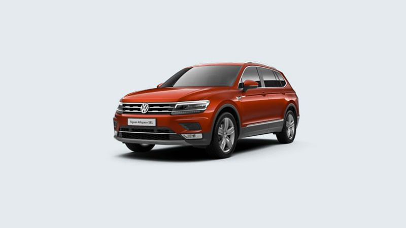 3/4 front view of a orange Volkswagen Tiguan Allspace SEL.