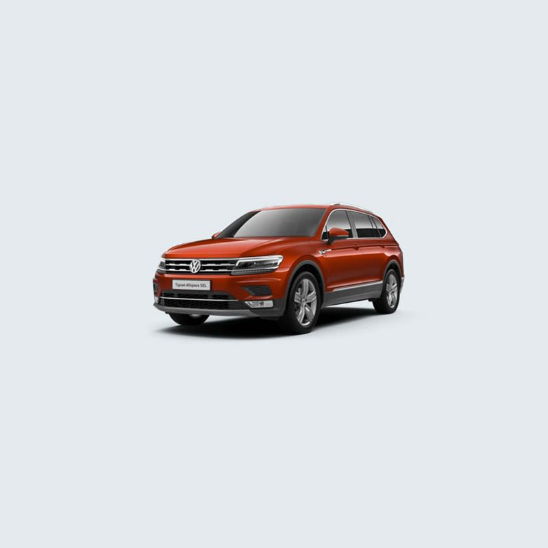 3/4 front view of a orange Volkswagen Tiguan Allspace SEL.
